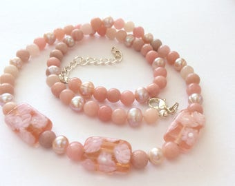 Pink Chinese Opal Necklace