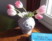 RESERVED FOR ELLEN Tall White Porcelain Vase with Organic Design