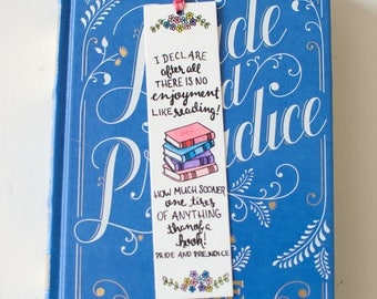 Pride and Prejudice Bookmark - Jane Austen - Illustrated - Literary Quote - Floral - Bookmark