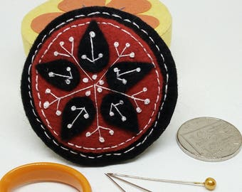 Thank you, teacher gift. Handmade, black and red embroidered felt brooch.
