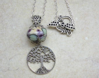 Tree of Life Necklace with Lampwork Glass Bead - Pagan, Nature, Hippie, Hippy, Boho, Unusual Jewellery