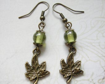 Bronze Maple Leaf Earrings with Green Glass Beads - Hippie Boho Hippy Pagan Woodland Nature Leaves