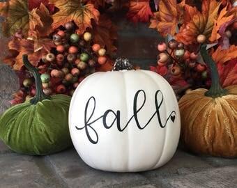 """Faux pumpkin """"Fall"""" (6in)"""
