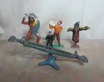 5 Vintage Cast Metal Toy Figures