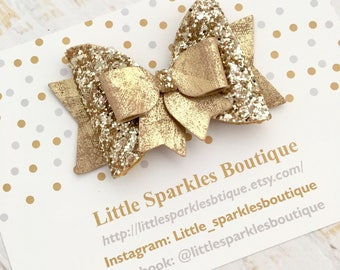 Gold glitter bow, gold hair bow, baby bow, girls hair accessories, christmas bow
