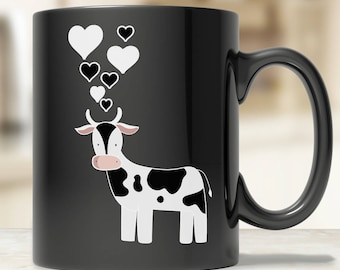 Cute Cow Coffee Mug Black - Funny Cow Mug - Cow Love Mug - Cute Dairy Cow Gift - Cute Cow Mug - Cow Lover Gift Ideas