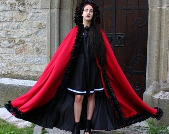 Long Black Coat Gothic Cape Black Coat Black Cape Black