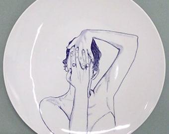 Hand painted porcelain collection plate  - portrait Blue