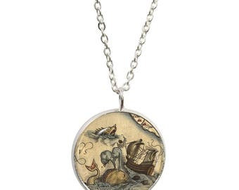 Vintage Sea Monster Pendant and Silver Plated Necklace