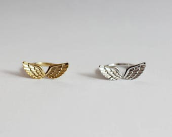 Heavenly Wings Ring / angel wing ring, angel jewelry, adjustable wings ring, open wings ring, angels ring / R0-06