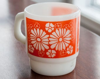 Vintage mug FireKing/Anchor hocking with orange flower pattern - Fire king orange flower