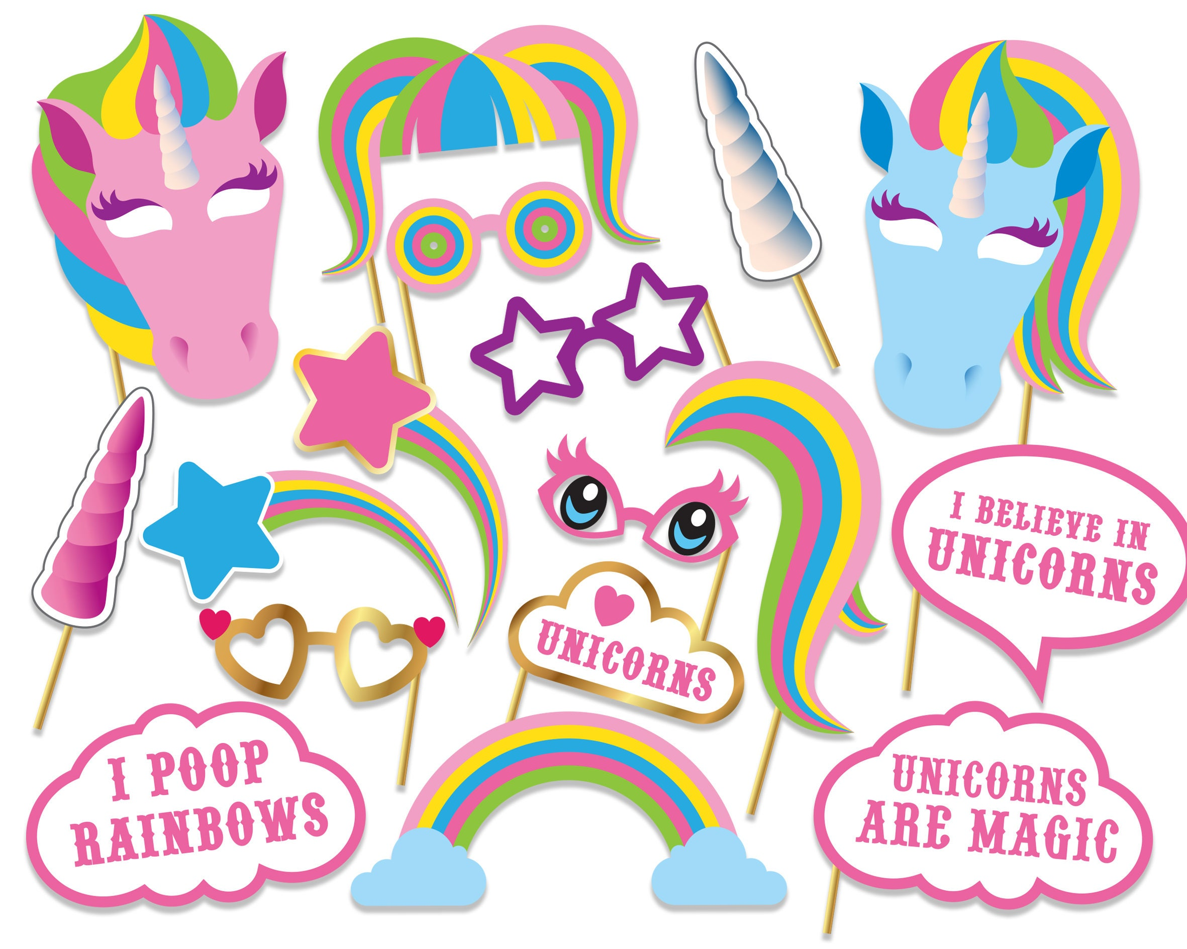 graphic about Printable Photo Booth Props Birthday named Unicorn Picture Booth Props, Birthday Picture Booth, Unicorn