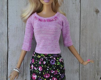 Beautiful handmade clothes-blouse and skirt for Barbie Fashionistas dolls