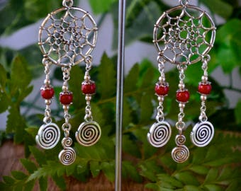 Red coral dreamcatcher earrings with spirals, Boho Earrings, Chandelier Earrings, geometric earrings, hippie, spiritual, healing crystals
