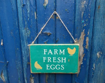 Farm  Fresh  Eggs  Sign  ,  Rustic  Wooden  Sign  .  9  Inches  x  5  and    a  half  Inches  .