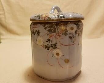 Vintage Porcelain Biscuit Jar / Cookie Jar Hand Painted