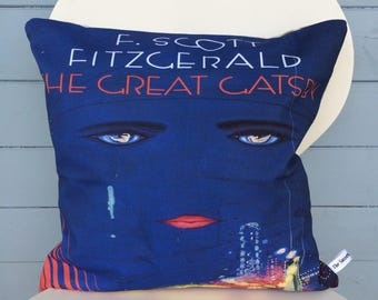 The Great Gatsby pillow - F. Scott Fitzgerald cushion - Mother's Day gift - Book gift