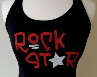 Ready to ship fitted medium racerback tank with glitter design - ROCK STAR -perfect for Rock N Roll race series