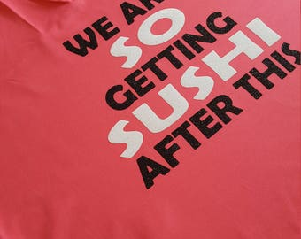 Size XL - Ready to Ship - Hanes racerback wicking tank - We are SO getting SUSHI after this