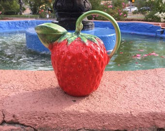 Vintage Ceramic Strawberry Pitcher- Made In Italy, Strawberry Decor, Red Pitcher, Small Pitcher
