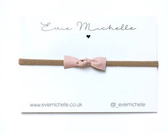 Dainty Blush Pink Leather Bow