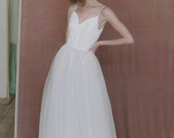 Ivory wedding gown, hand embroidered wedding dress
