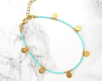 Simple everyday anklet bracelet, bohemian coins anklet bracelet, beaded ankle, dainty delicate anklet, minimalist jewelry, turquoise anklet