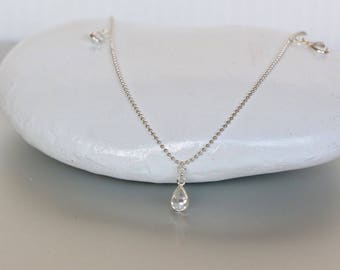 Crystal Drops Anklet, Silver Anklet, Dainty Anklet, Wedding Anklet, Simple Anklet, Ankle Bracelet, Womens Gift, AS114w