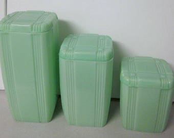 Vintage JADEITE jadite criss cross canister cannister set of 3 crisscross pattern