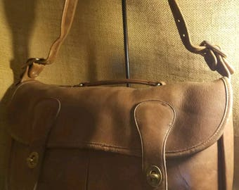 Rare Vintage Coach XL Musette Carrier Tabac Leather  Messenger Briefcase~ NYC USA