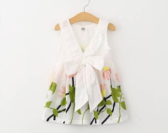 White Embroidery Summer Dress - Toddler Cute Dress - Toddler Tie Up Dress