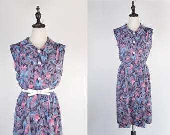 Blue Pink Floral Print Flat Collar Sleeveless Violet Vintage Dress Size M
