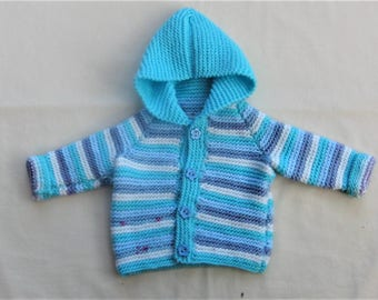 Hand Knitted Baby Hooded Jacket, Knitted Baby Clothes, Baby Hoodie, Knitted Baby Jacket, Knitted Baby Coat, New Baby Gift, Baby Shower Gift