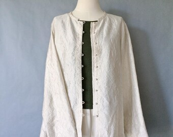 vintage silk blouse/silk jacket/ silk duster/ minimalist silk top/ silk shirt/ women's size M/L