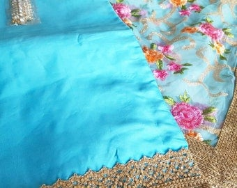 Turquoise Blue Punjabi Suit with Embroidered Floral Net Dupatta - Indian Wedding Dress, Blue Saree, Blue Indian Suit with Dupatta, Blue Suit