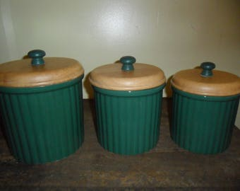 Vintage 3 pc. Ceramic Canister Set w/Lids~Hunter Green~Preferred Stock
