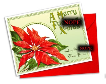 Merry Bleeping Christmas with Poinsettia- Swear Word Christmas Card- Curse word Christmas Card- Blank A2 Note Card single card