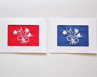 DAR Carnation Bouquet Frameable Embroidery/Greeting Card Set, Cream on Red & Blue Linen