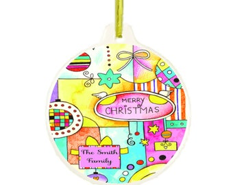 Colorful Personalized Customized Christmas Holiday Ornament