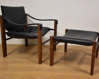 Leather Safari Lounge Lounge Chair and Ottoman