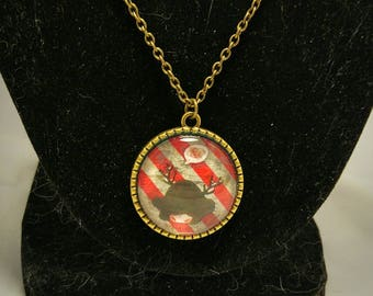 Angry antlered girl cameo necklace