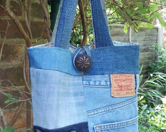 Upcycled Patchwork Denim Jeans Tote Bag