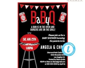 Baby BBQ Invitation, BABYQ Invitations, Backyard BBQ Baby Shower Invitations, Coed Baby Shower Invitation Template Editable Instant Download