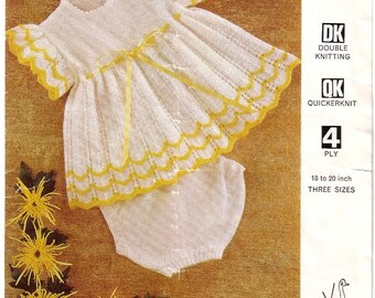 Vintage 'EMU 8525' baby knit dress and knickers pattern in pdf