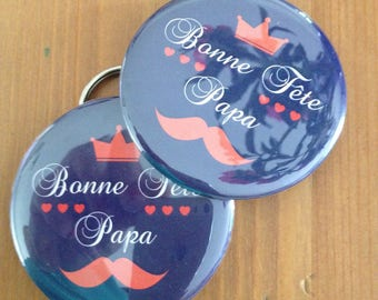 "Badge Magnet 56 mm and bottle opener key chain ""father's day."