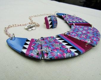 Polymer clay bib necklace set