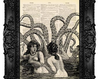 GEEKERY Art GEEK Art Humor Art Gift For Men Gift For Him, Octopus Art Print Octopus Decor Wall Art Painting, Dictionary Art Print no.216