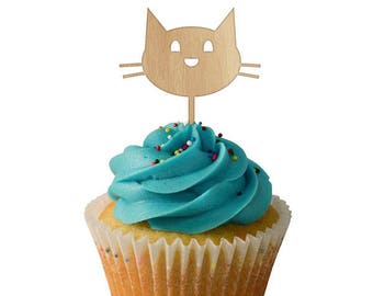 Kitty Face Cupcake Toppers 6pk