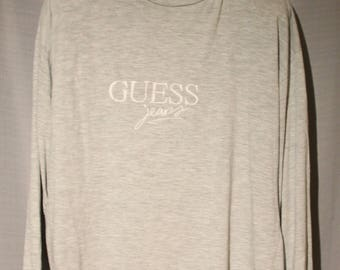 Vintage Guess By Georges Marciano Grey Long Sleeve Sewn Logo Shirt Size Large +