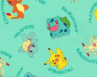 Aqua Pokemon Fabric from Robert Kaufman quilting cotton blue material by the yard or metre quilting material